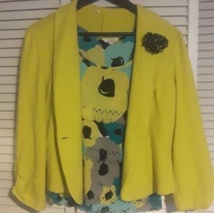 Candie's Soft Yellow Blazer and Floral Tank Top